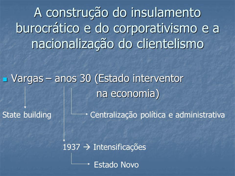 A construção do insulamento burocrático e do corporativismo e a nacionalização do clientelismo