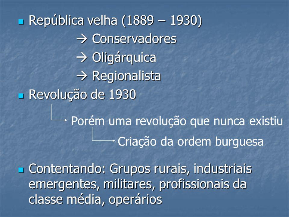 República velha (1889 – 1930)  Conservadores  Oligárquica