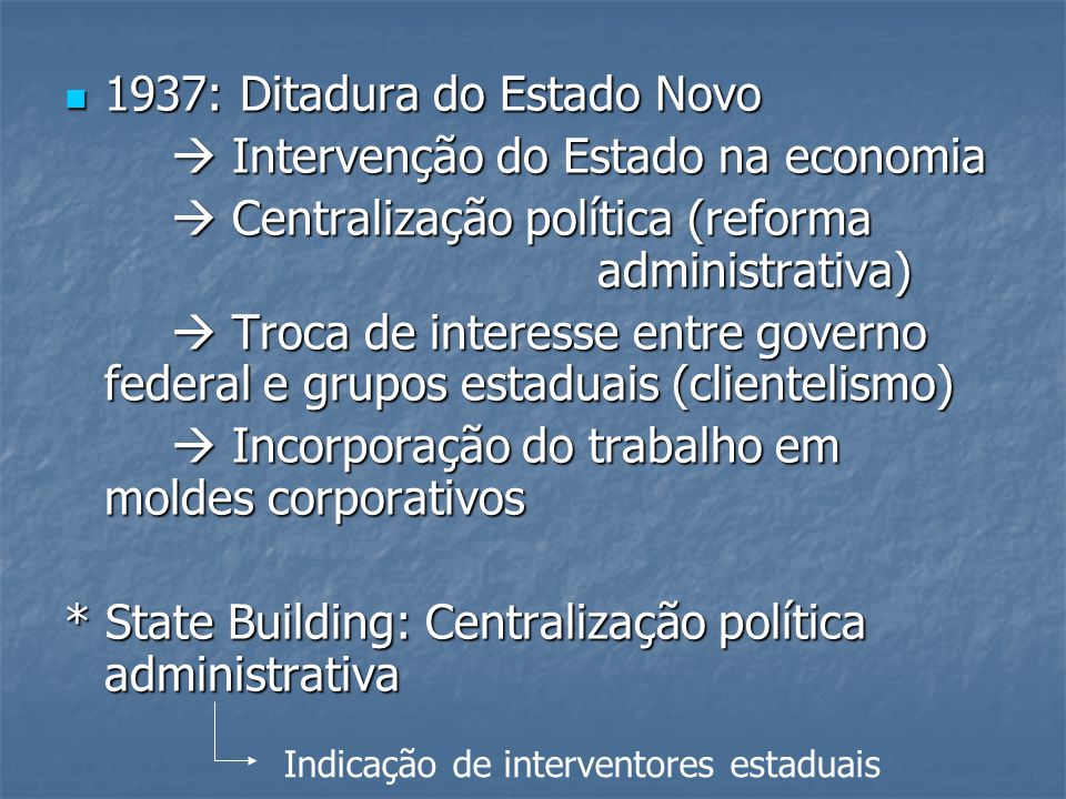 1937: Ditadura do Estado Novo  Intervenção do Estado na economia