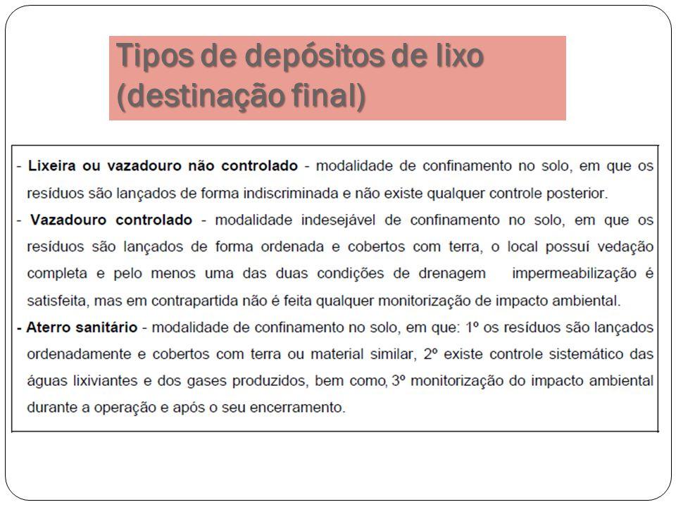 Tipos de depósitos de lixo (destinação final)