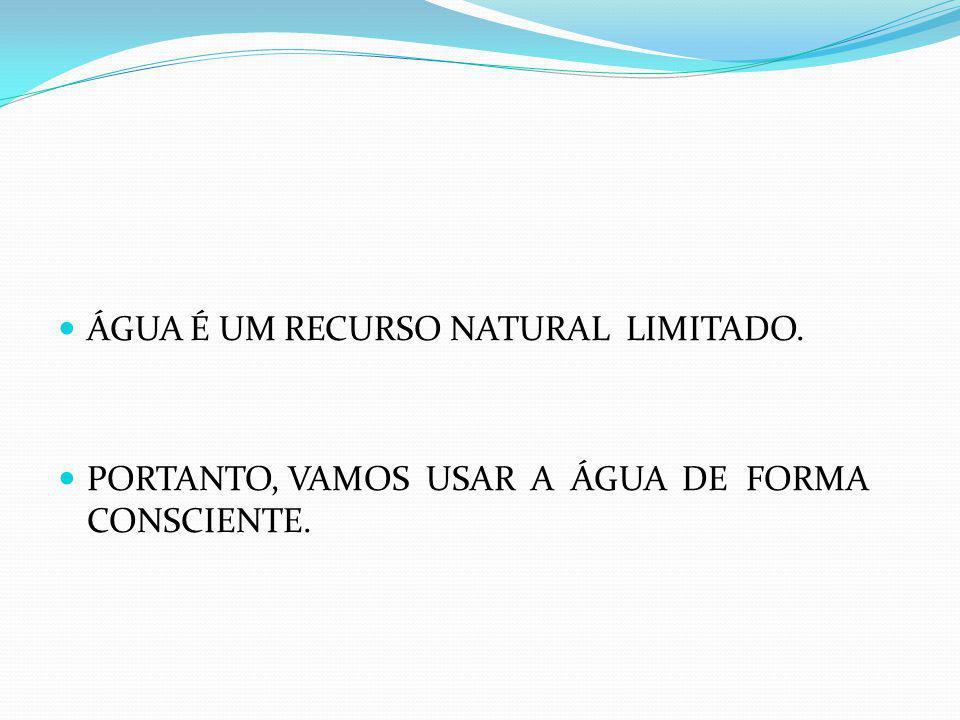 ÁGUA É UM RECURSO NATURAL LIMITADO.