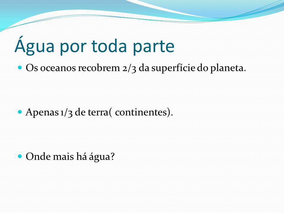 Água por toda parte Os oceanos recobrem 2/3 da superfície do planeta.