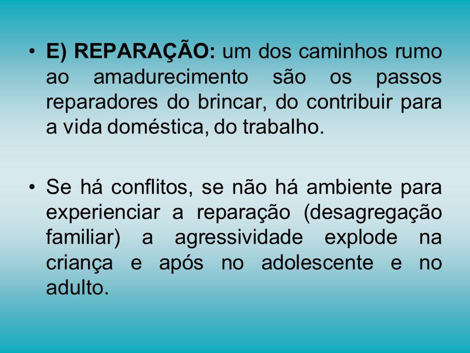 E) REPARAÇÃO: um dos caminhos rumo ao amadurecimento são os passos reparadores do brincar, do contribuir para a vida doméstica, do trabalho.
