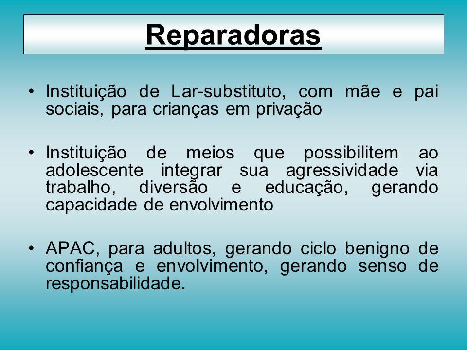 Reparadoras Instituição de Lar-substituto, com mãe e pai sociais, para crianças em privação.