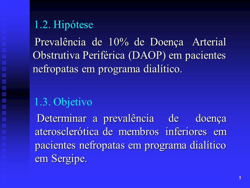 1.2. Hipótese Prevalência de 10% de Doença Arterial Obstrutiva Periférica (DAOP) em pacientes nefropatas em programa dialítico.