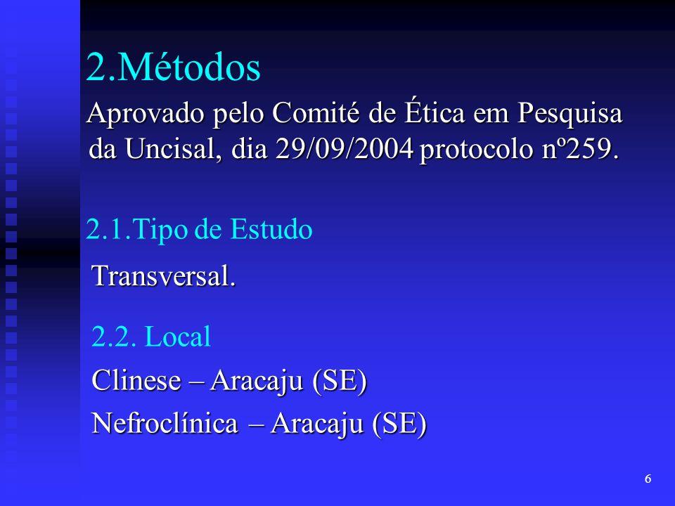 2.Métodos Aprovado pelo Comité de Ética em Pesquisa da Uncisal, dia 29/09/2004 protocolo nº259. 2.1.Tipo de Estudo.