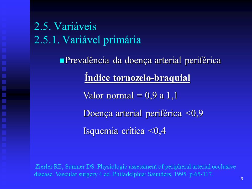 2.5. Variáveis 2.5.1. Variável primária