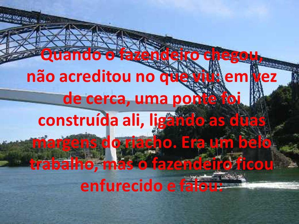 Quando o fazendeiro chegou, não acreditou no que viu: em vez de cerca, uma ponte foi construída ali, ligando as duas margens do riacho.