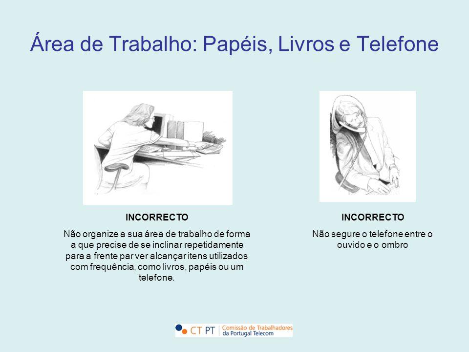 Área de Trabalho: Papéis, Livros e Telefone