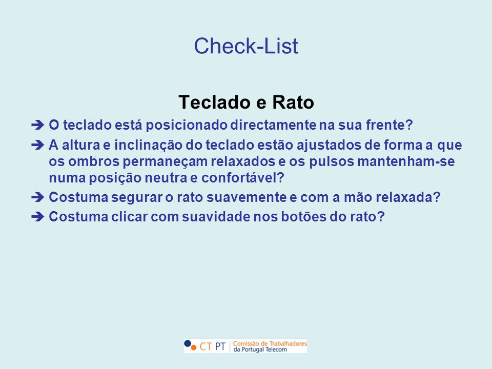 Check-List Teclado e Rato