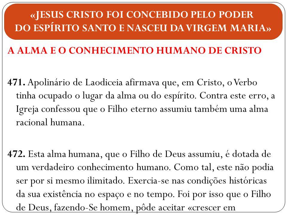 «JESUS CRISTO FOI CONCEBIDO PELO PODER DO ESPÍRITO SANTO E NASCEU DA VIRGEM MARIA»