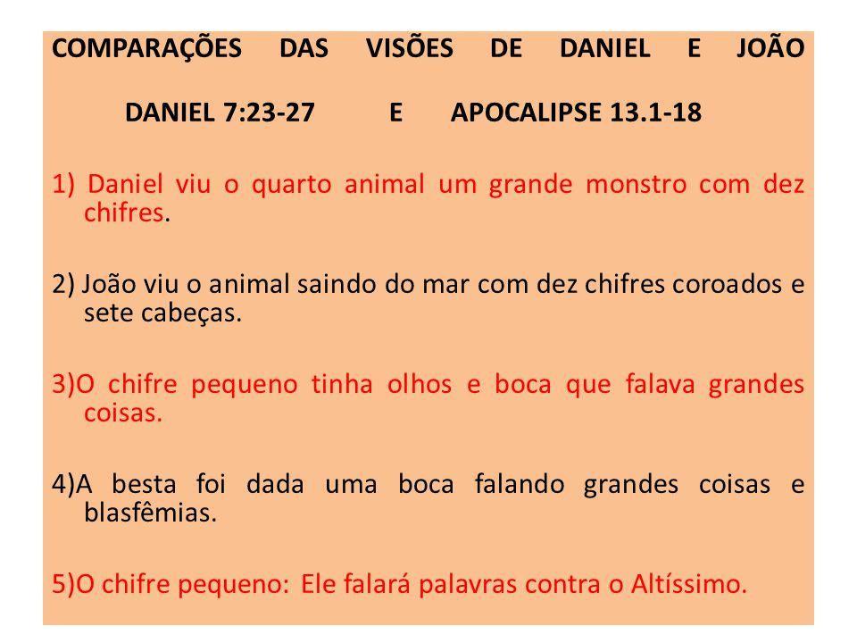 COMPARAÇÕES DAS VISÕES DE DANIEL E JOÃO