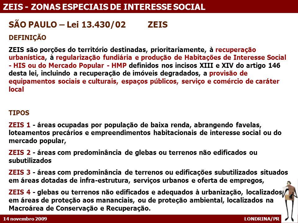 SÃO PAULO – Lei 13.430/02 ZEIS DEFINIÇÃO