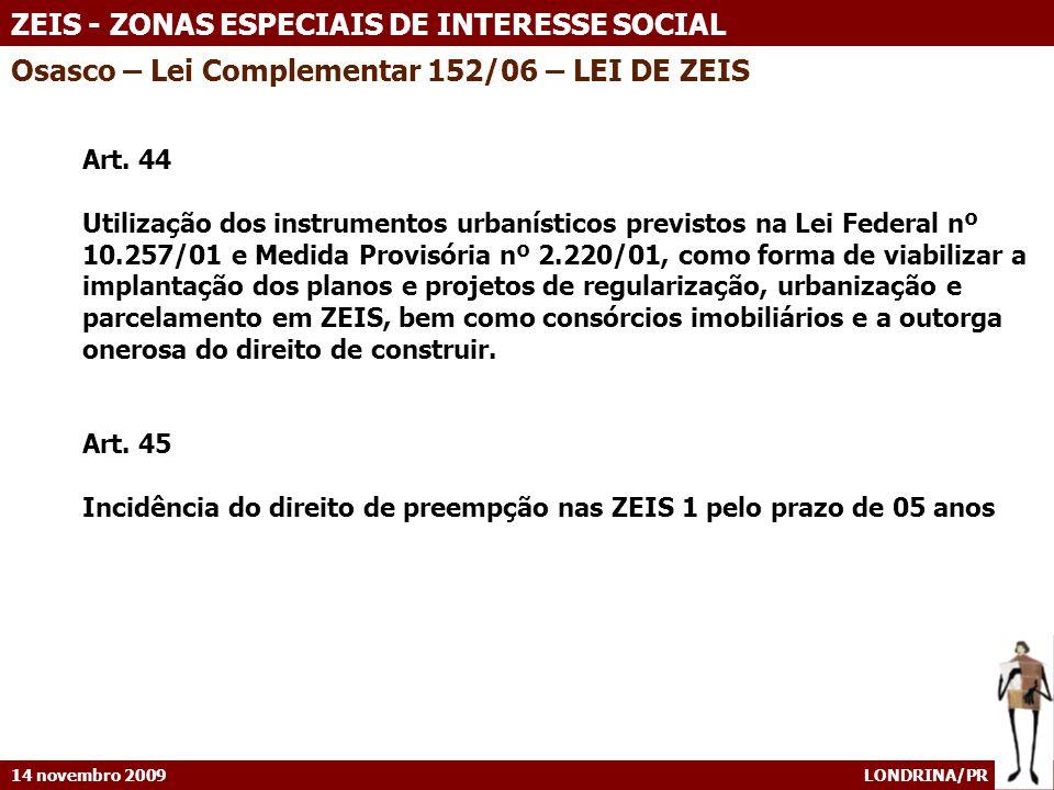 Osasco – Lei Complementar 152/06 – LEI DE ZEIS