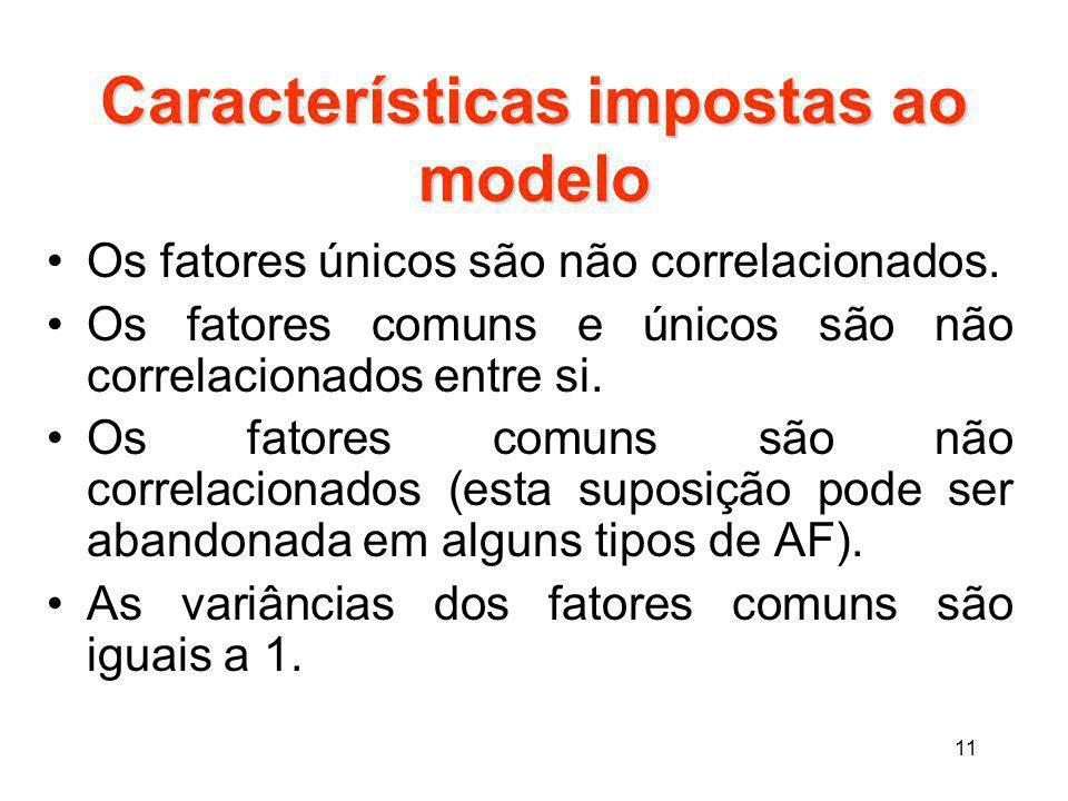Características impostas ao modelo