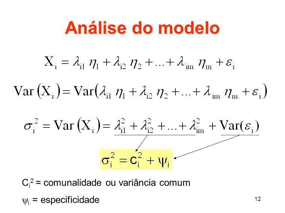 Análise do modelo Ci2 = comunalidade ou variância comum