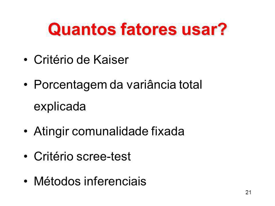 Quantos fatores usar Critério de Kaiser