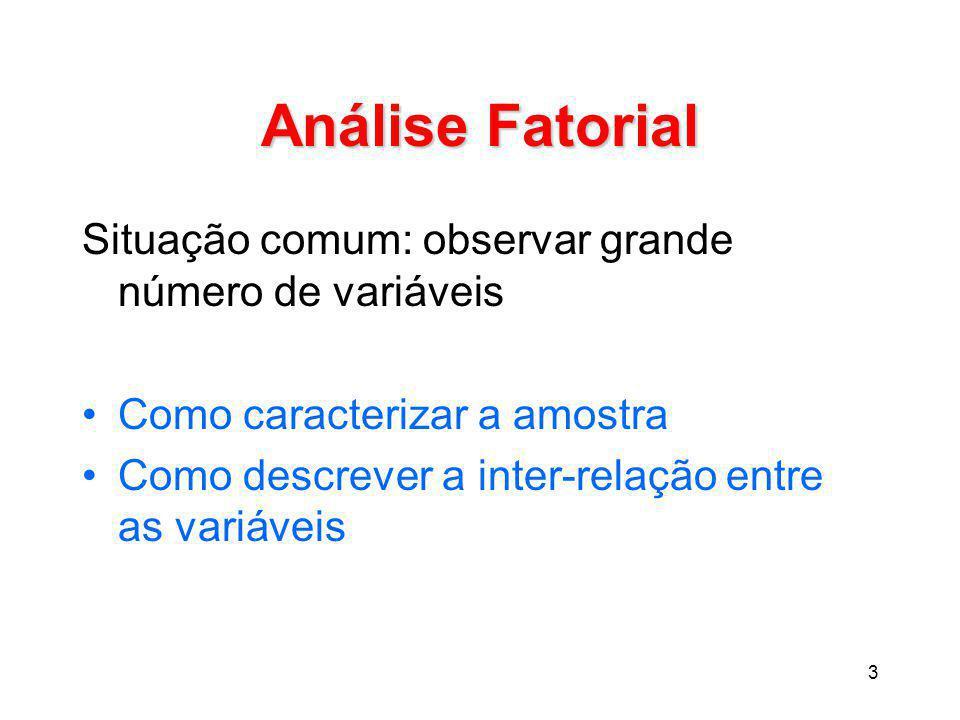 Análise Fatorial Situação comum: observar grande número de variáveis