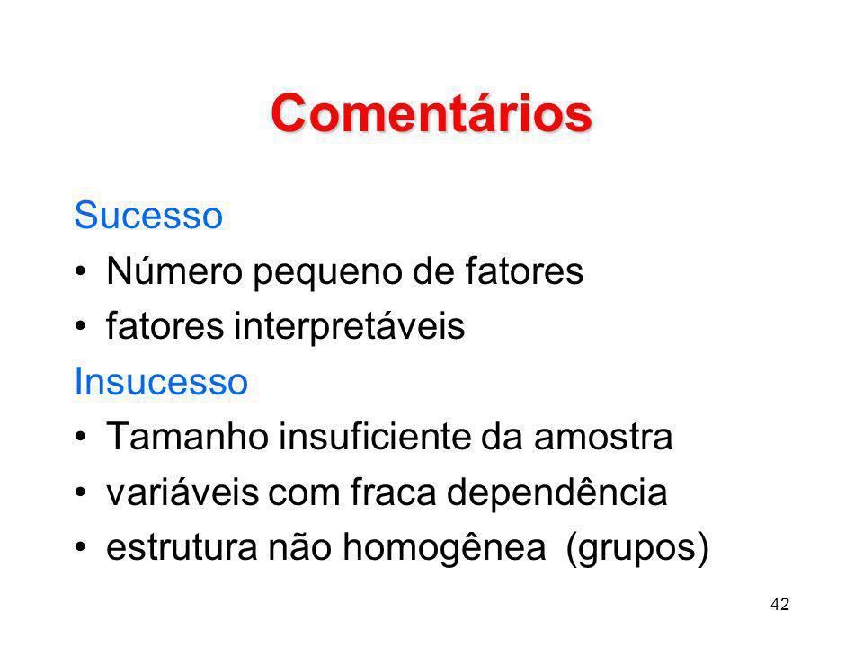 Comentários Sucesso Número pequeno de fatores fatores interpretáveis