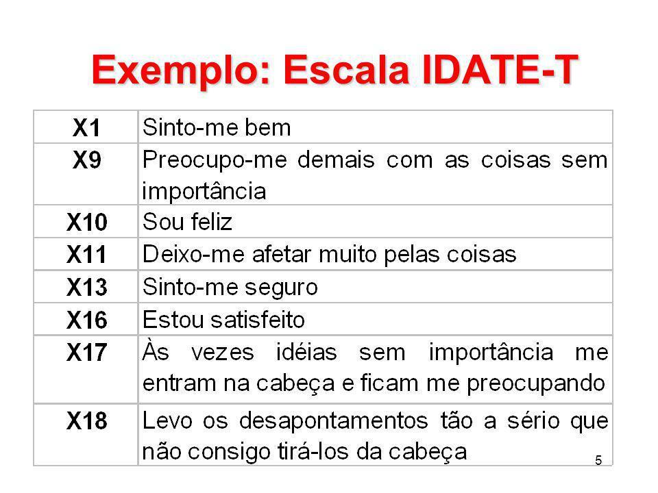 Exemplo: Escala IDATE-T