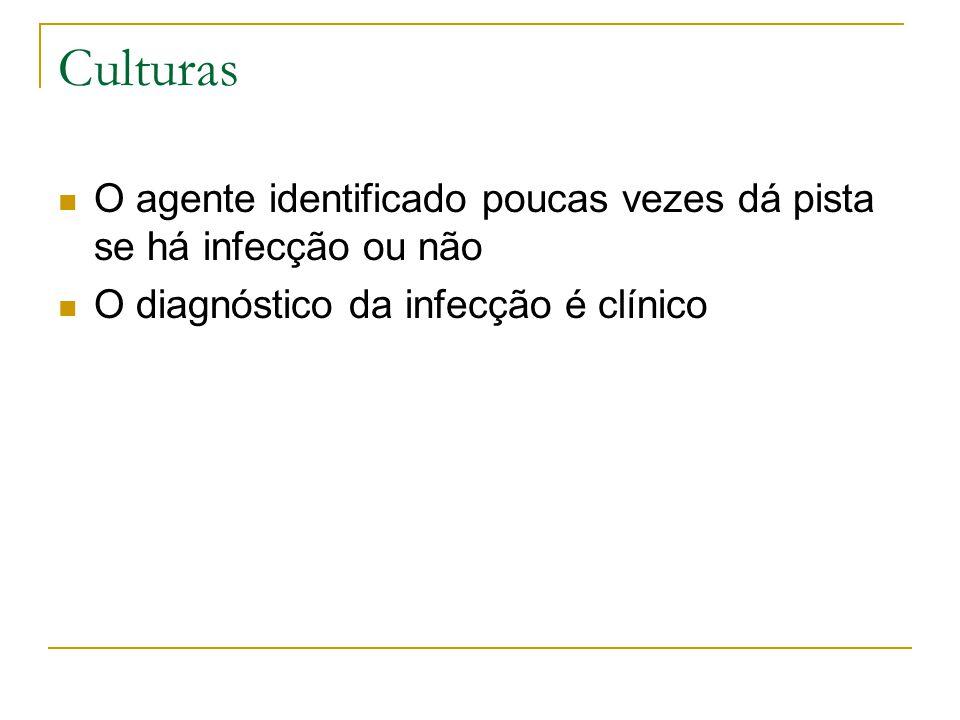 Culturas O agente identificado poucas vezes dá pista se há infecção ou não.