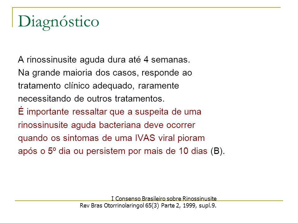 Diagnóstico A rinossinusite aguda dura até 4 semanas.