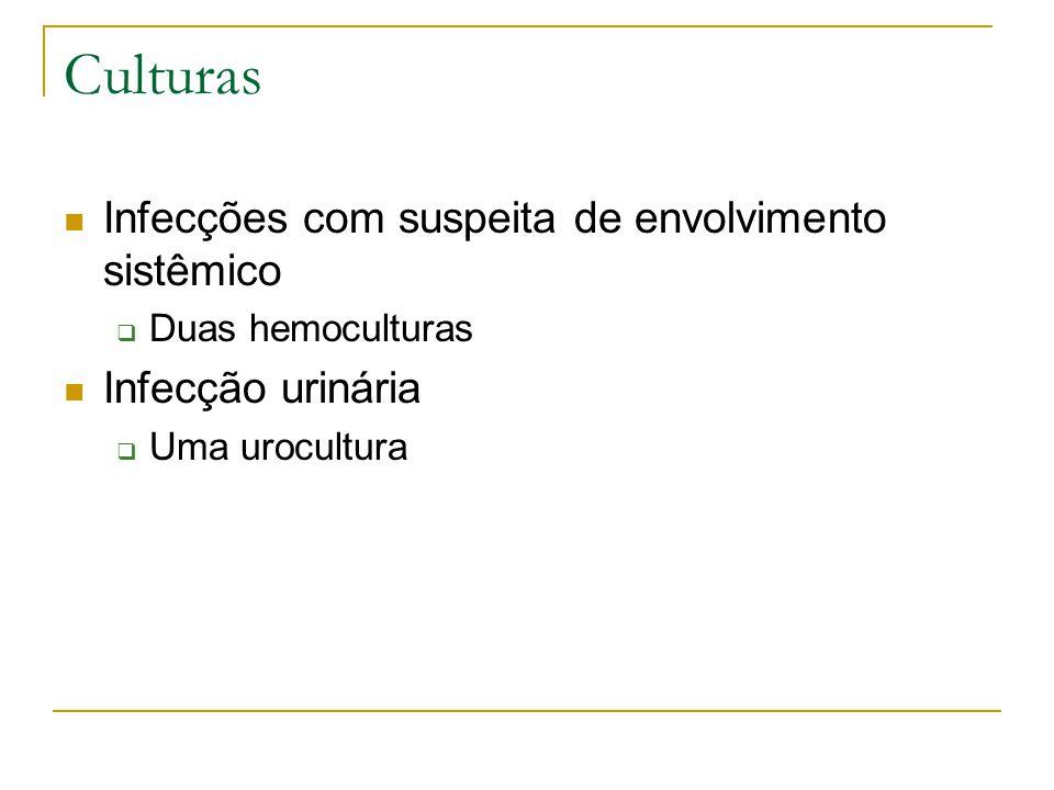 Culturas Infecções com suspeita de envolvimento sistêmico