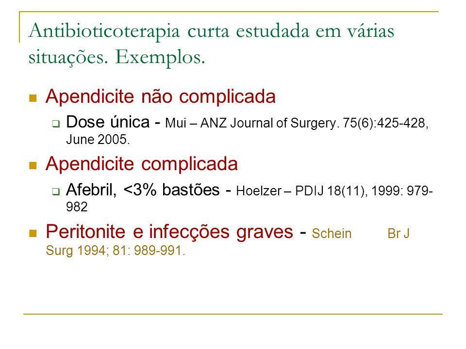 Antibioticoterapia curta estudada em várias situações. Exemplos.