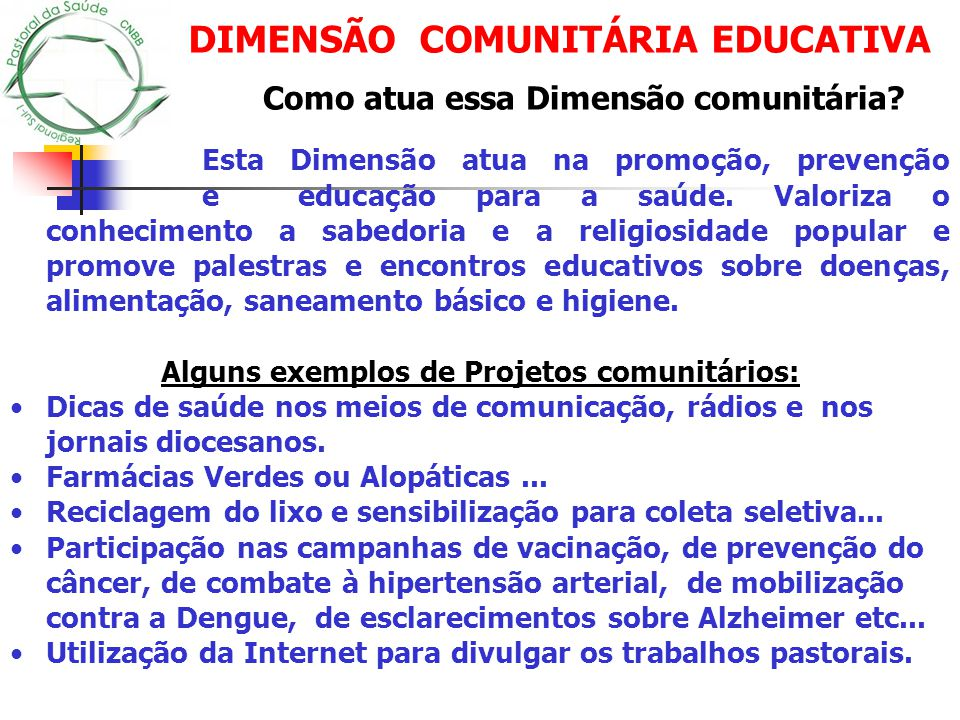 DIMENSÃO COMUNITÁRIA EDUCATIVA