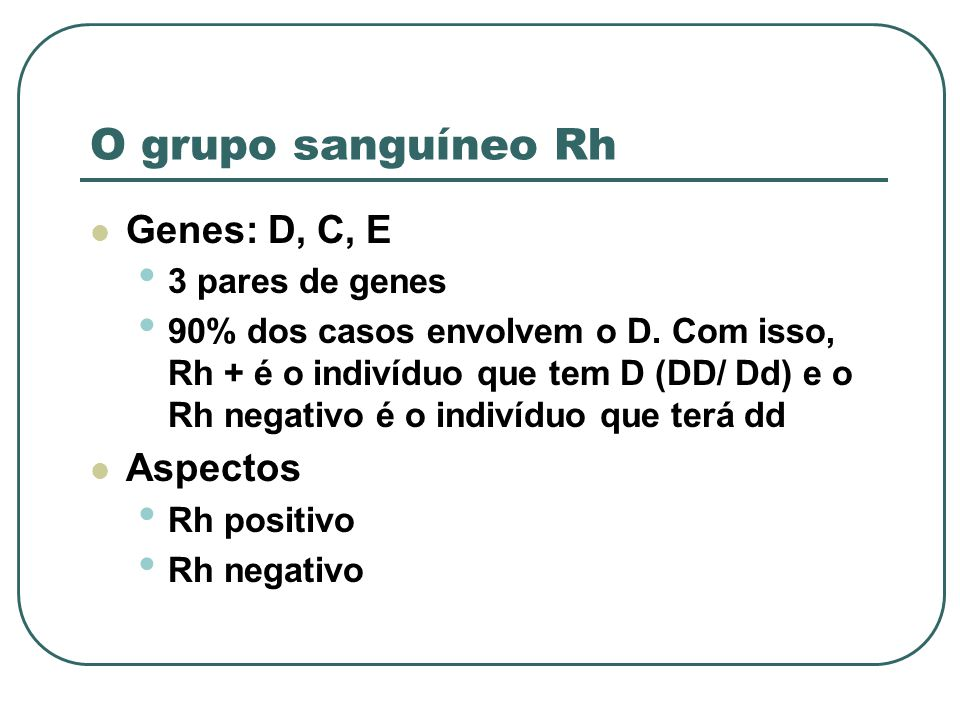 O grupo sanguíneo Rh Genes: D, C, E Aspectos 3 pares de genes