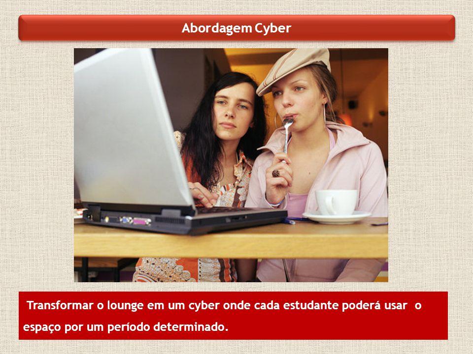 Abordagem Cyber Transformar o lounge em um cyber onde cada estudante poderá usar o espaço por um período determinado.