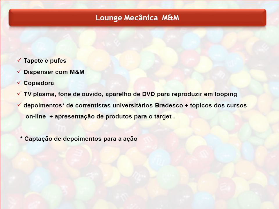 Lounge Mecânica M&M Tapete e pufes Dispenser com M&M Copiadora