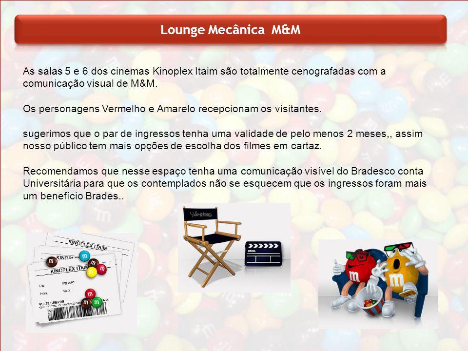 Lounge Mecânica M&M As salas 5 e 6 dos cinemas Kinoplex Itaim são totalmente cenografadas com a comunicação visual de M&M.