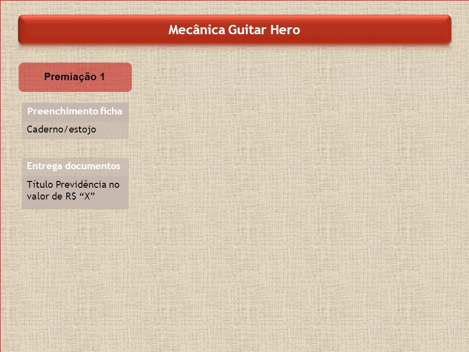 Mecânica Guitar Hero Premiação 1 Preenchimento ficha Caderno/estojo
