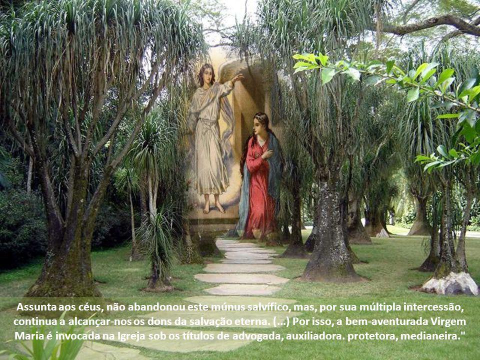 Assunta aos céus, não abandonou este múnus salvífico, mas, por sua múltipla intercessão, continua a alcançar-nos os dons da salvação eterna.