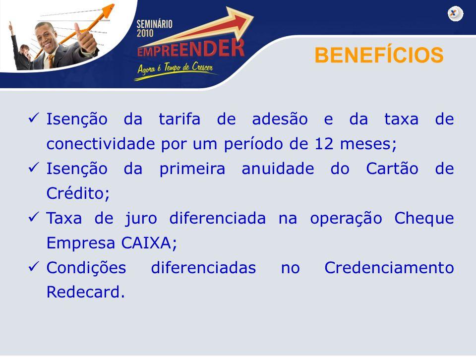 BENEFÍCIOS Isenção da tarifa de adesão e da taxa de conectividade por um período de 12 meses; Isenção da primeira anuidade do Cartão de Crédito;
