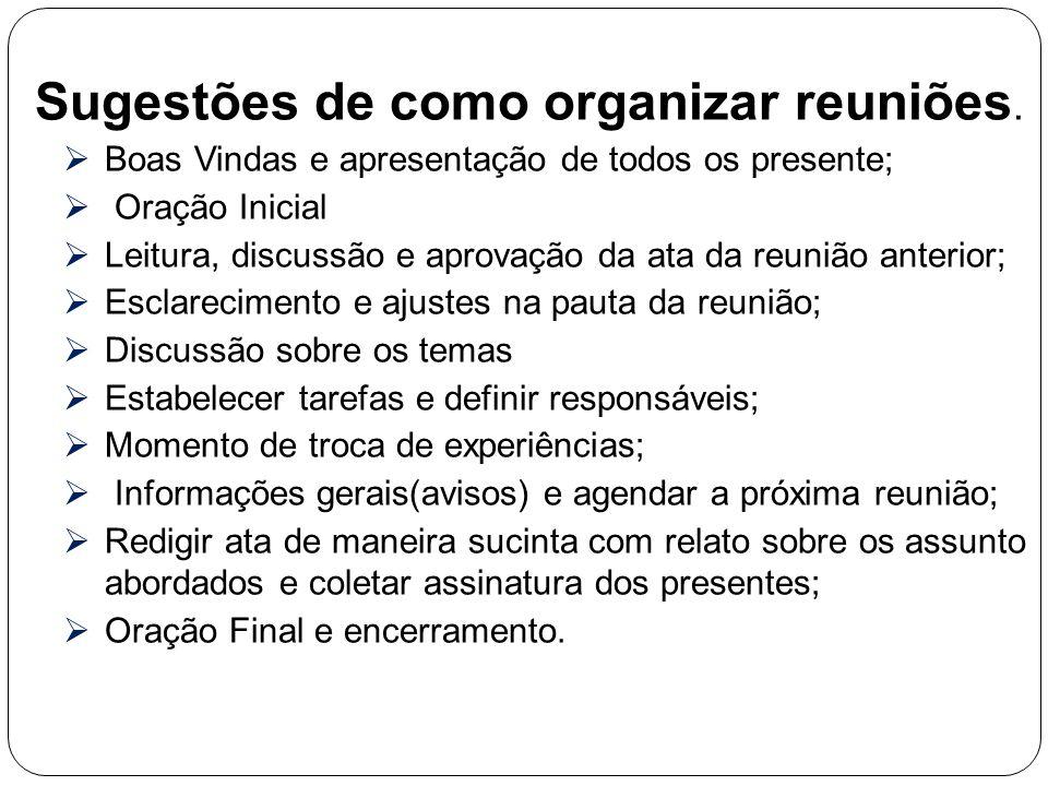 Sugestões de como organizar reuniões.