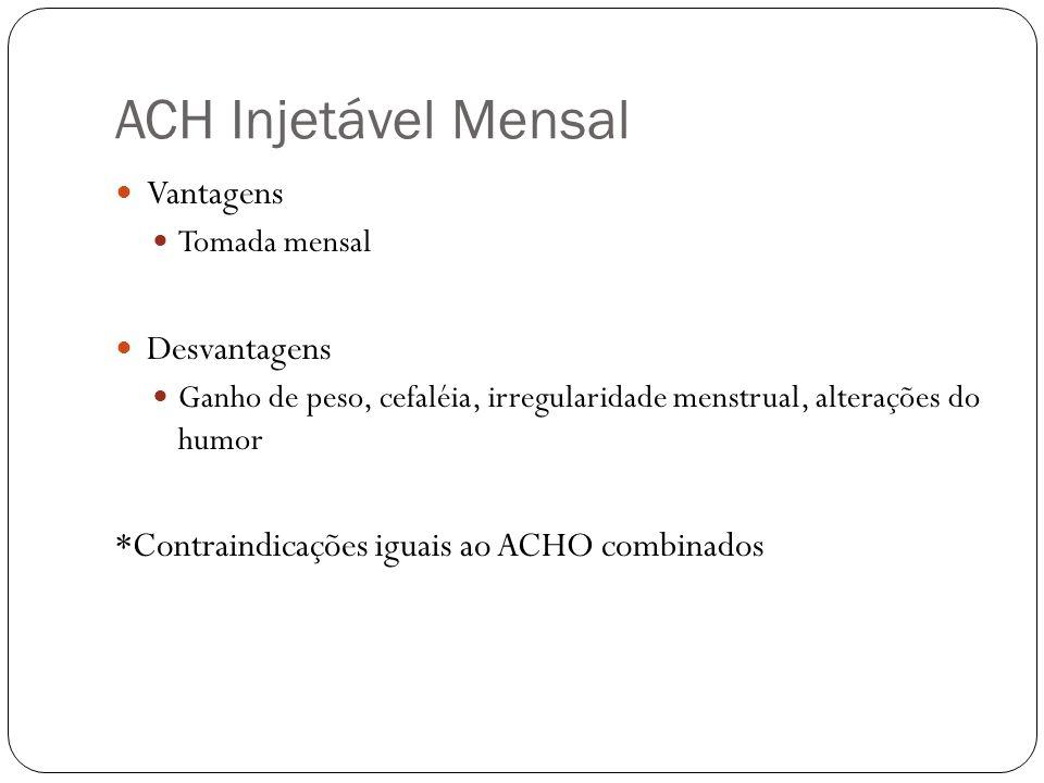 ACH Injetável Mensal Vantagens Desvantagens