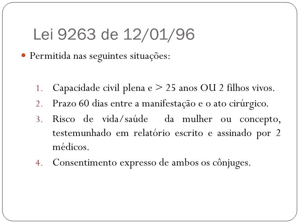 Lei 9263 de 12/01/96 Permitida nas seguintes situações: