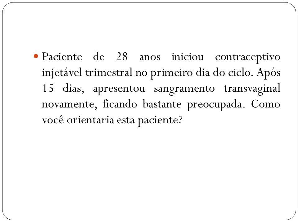 Paciente de 28 anos iniciou contraceptivo injetável trimestral no primeiro dia do ciclo. Após 15 dias, apresentou sangramento transvaginal novamente, ficando bastante preocupada. Como você orientaria esta paciente