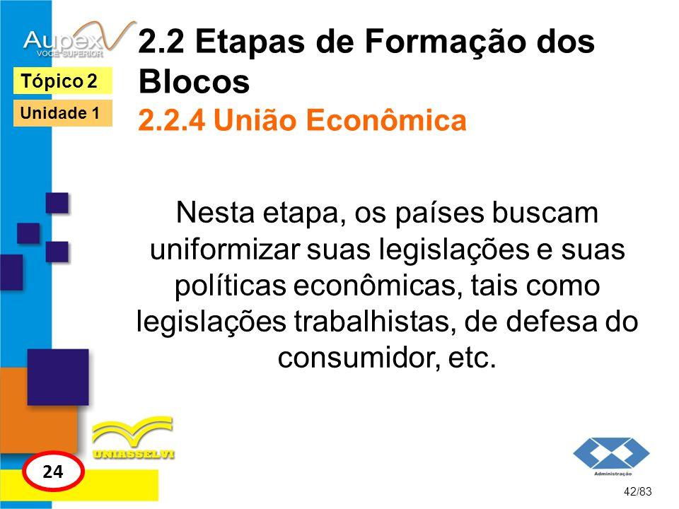 2.2 Etapas de Formação dos Blocos 2.2.4 União Econômica