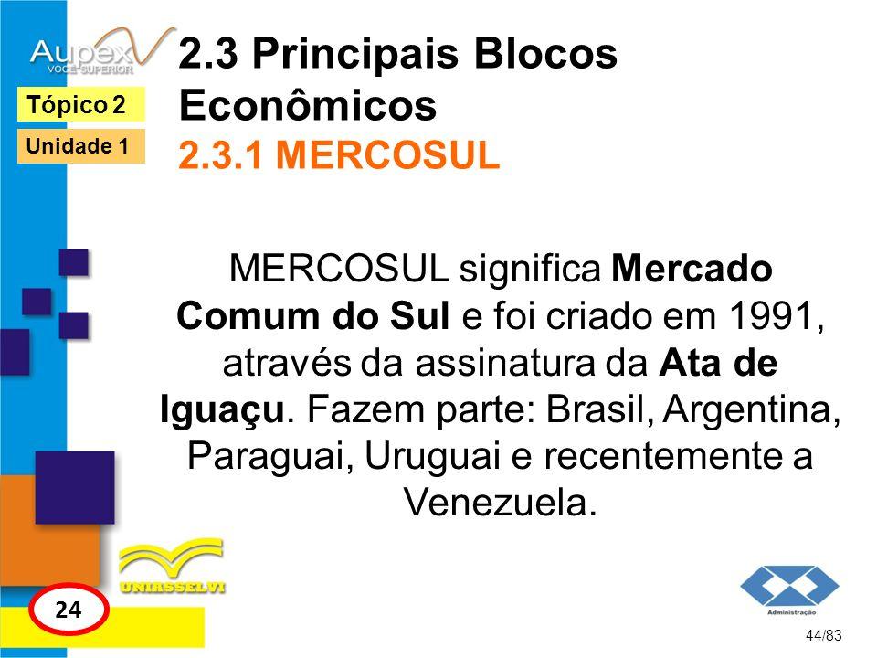 2.3 Principais Blocos Econômicos 2.3.1 MERCOSUL