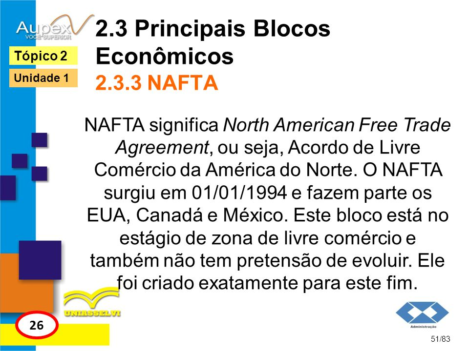 2.3 Principais Blocos Econômicos 2.3.3 NAFTA