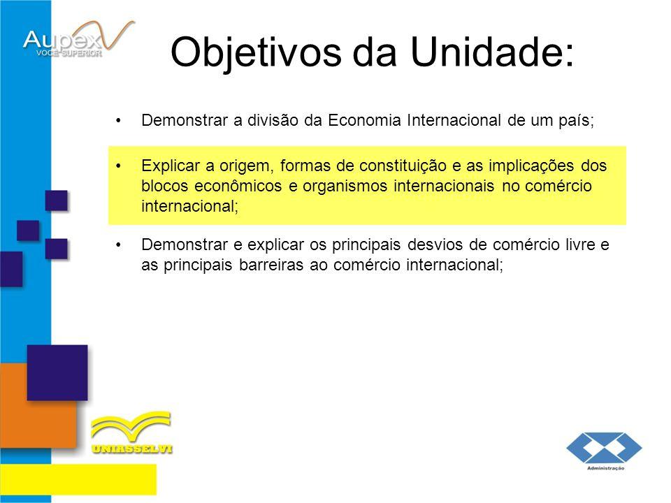 Objetivos da Unidade: Demonstrar a divisão da Economia Internacional de um país;