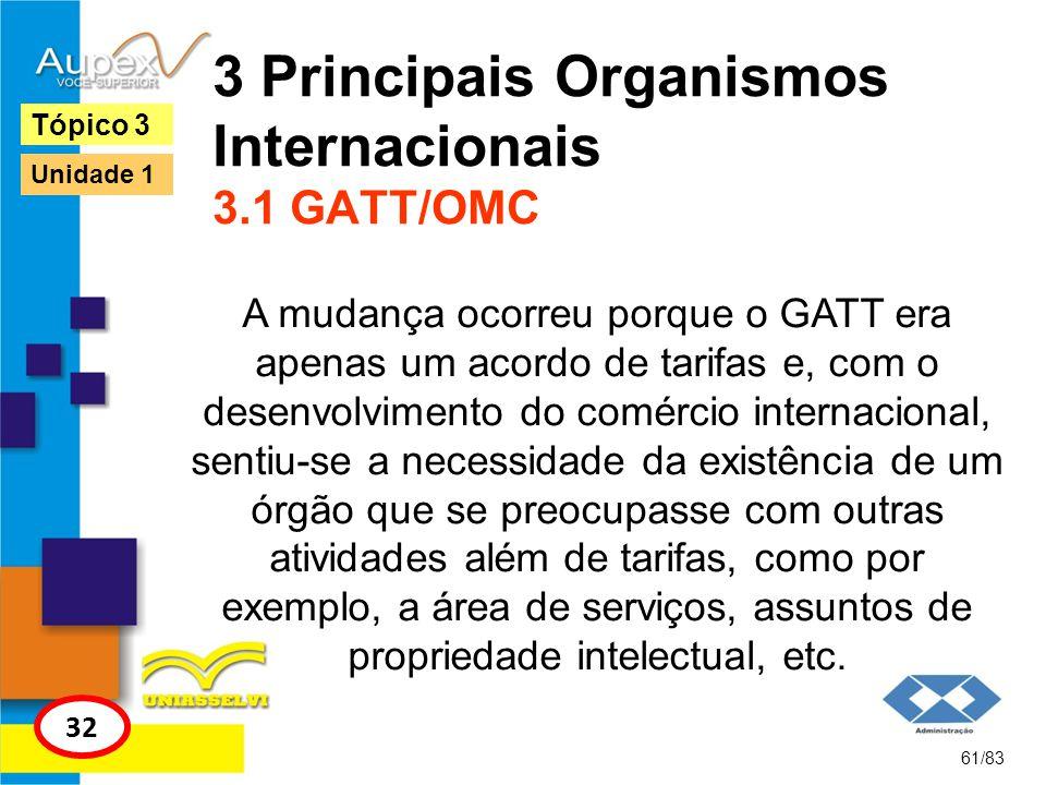 3 Principais Organismos Internacionais 3.1 GATT/OMC