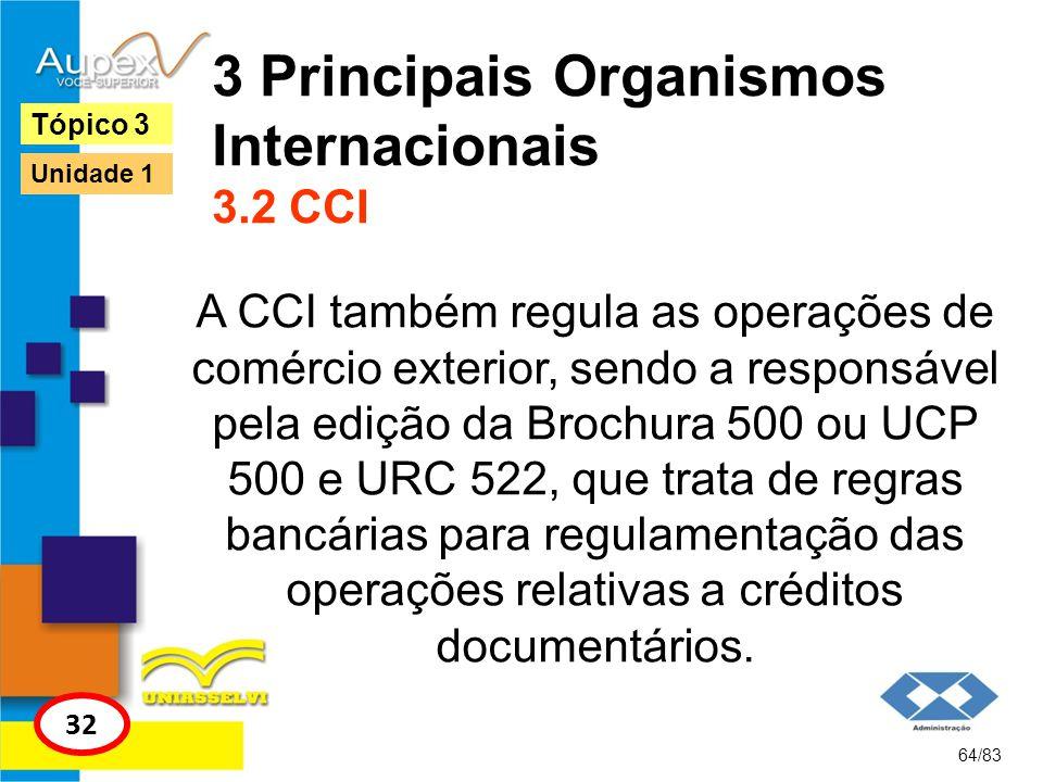 3 Principais Organismos Internacionais 3.2 CCI