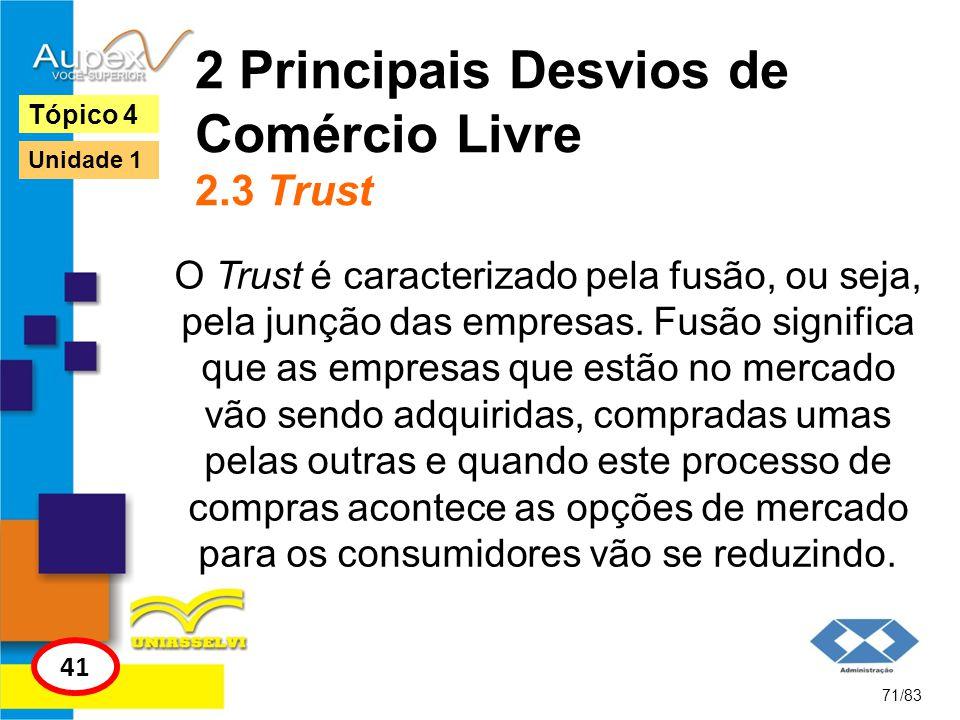 2 Principais Desvios de Comércio Livre 2.3 Trust