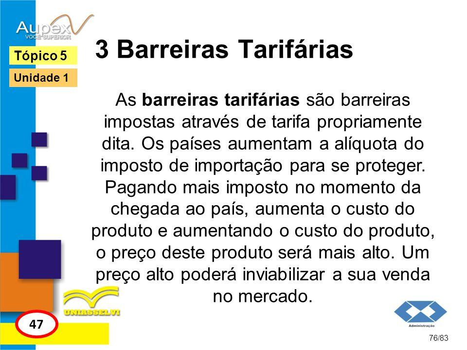 3 Barreiras Tarifárias Tópico 5. Unidade 1.