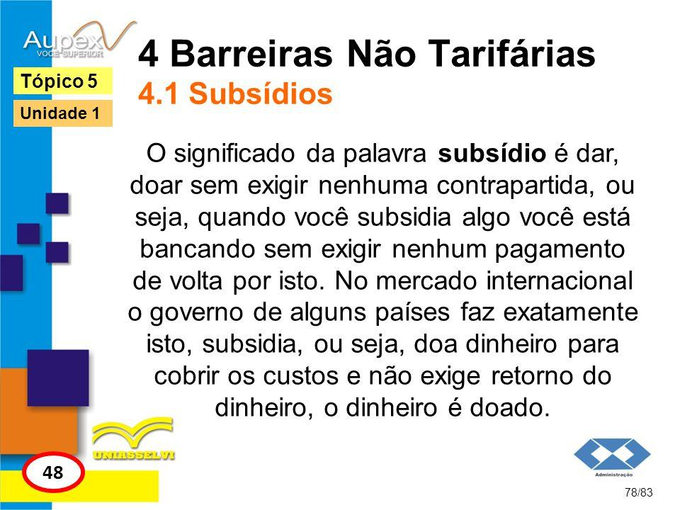 4 Barreiras Não Tarifárias 4.1 Subsídios