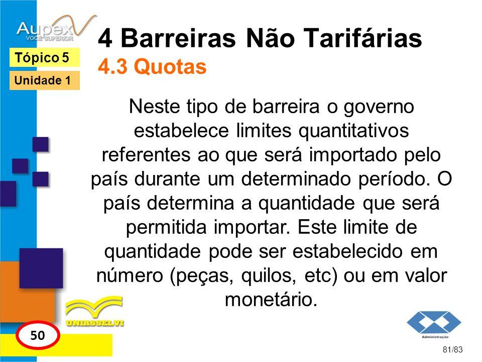 4 Barreiras Não Tarifárias 4.3 Quotas